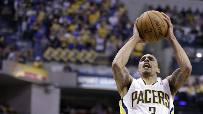 Indiana Pacers guard George Hill, right, draws the foul from Los Angeles Lakers guard Steve Nash in the second half of an NBA basketball game in Indianapolis, Friday, March 15, 2013. The Lakers defeated the Pacers 99-93. (AP Photo/Michael Conroy)