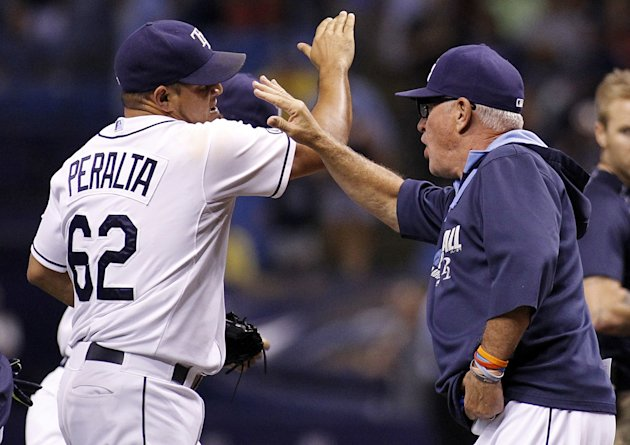 Manger Joe Maddon celebrates with pitcher Joel Peralta following the Rays 5-0 win over the Yankees. (Getty)