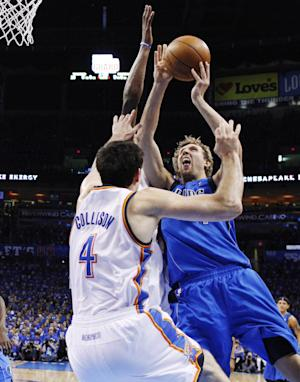 Dallas Mavericks forward Dirk Nowitzki, right, shoots as Oklahoma City Thunder center Nick Collison (4) defends in the first quarter of Game 1 in a first-round NBA basketball playoff series in Oklahoma City, Saturday, April 28, 2012. (AP Photo/Sue Ogrocki)