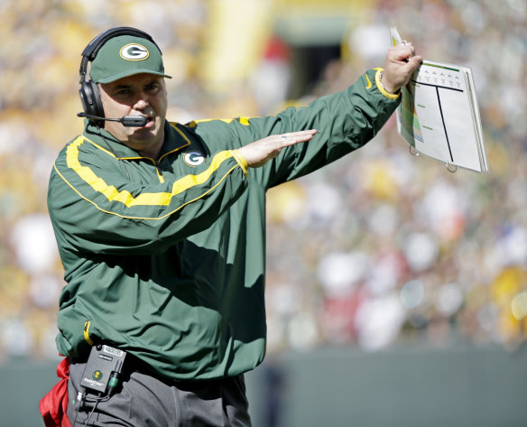 Green Bay Packers head coach Mike McCarthy reacts to a call during the first half of an NFL football game against the San Francisco 49ers Sunday, Sept. 9, 2012, in Green Bay, Wis. (AP Photo/Morry Gash)