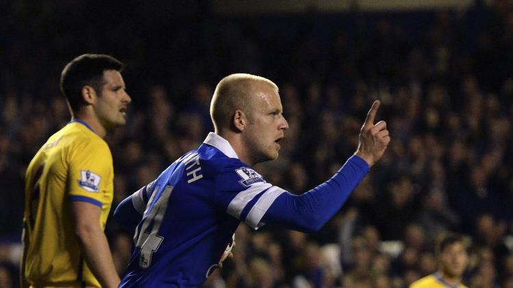 Everton's Naismith celebrates after scoring a goal against Crystal Palace during their English Premier League soccer match at Goodison Park in Liverpool