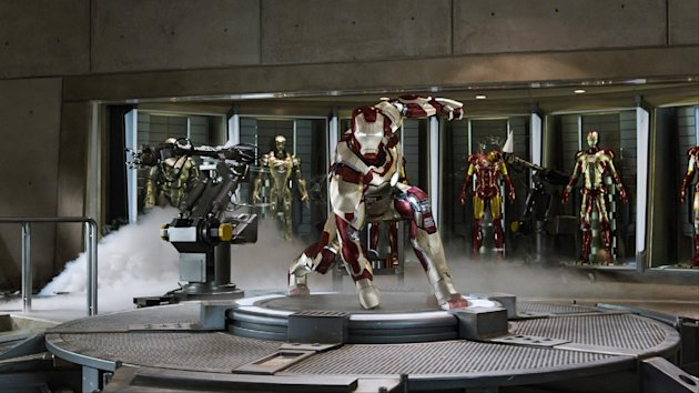 "This undated publicity image released by Marvel shows Robert Downey Jr., as Tony Stark/Iron Man, in a scene from ""Marvel's Iron Man 3."" ""Marvel's Iron Man 3"" was one of several upcoming films to receive spotlight treatment with an ad that aired during Super Bowl XLVII on Sunday, Feb. 3, 2013. (AP Photo/Marvel)"