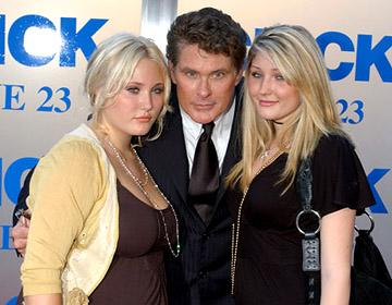 David Hasselhoff and his daughters at the LA premiere of Columbia's Click