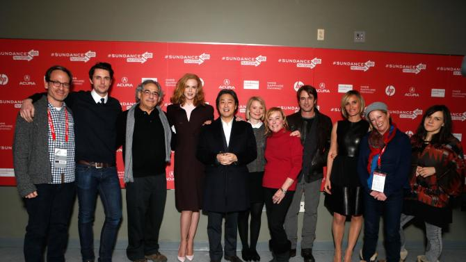 "From left, Producer Michael Costigan, actor Matthew Goode, Fox Searchlight President Steve Gilula, actress Nicole Kidman, director Chan-wook Park, actress Mia Wasikowska, Fox Searchlight President Nancy Utley, actors Dermot Mulroney, Judith Godreche, President of Production, Fox Searchlight Pictures Claudia Lewis, and composer Emily Wells attend Fox Searchlight's ""The Stoker"" premiere during Sundance Film Festival on Sunday, Jan. 20, 2012 in Park City, Utah. (Photo by Todd Williamson /Invision for Fox Searchlight/AP Images)"