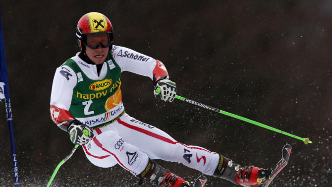Austria's Marcel Hirscher races to the second place, during an alpine ski, men's World Cup giant slalom, in Kranjska Gora, Slovenia, Saturday, March 9, 2013. (AP Photo/Alessandro Trovati)