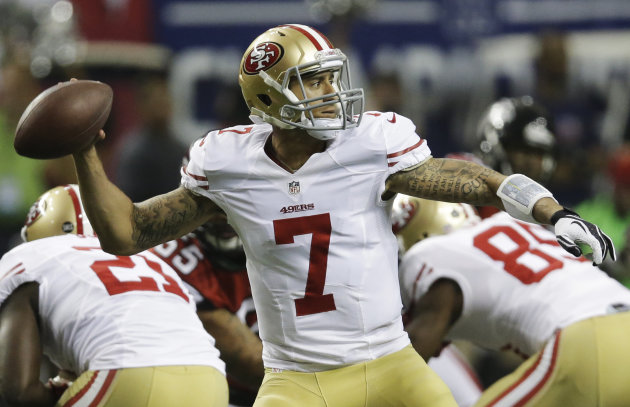 San Francisco 49ers' quarterback Colin Kaepernick passes during the first half of the NFL football NFC Championship game against the Atlanta Falcons Sunday, Jan. 20, 2013, in Atlanta. (AP Photo/John B