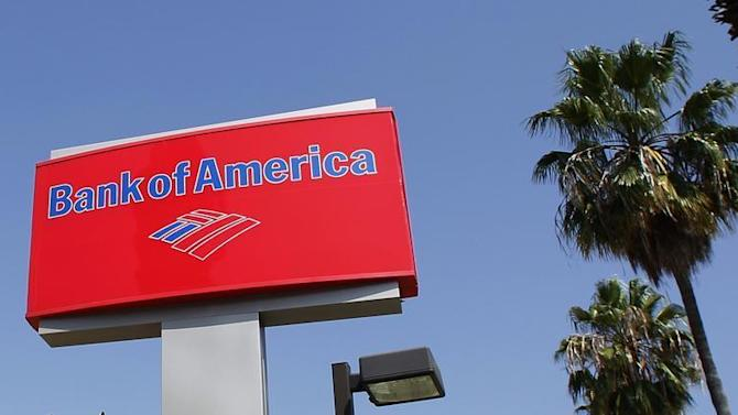 A sign for a Bank of America office is pictured in Burbank, California