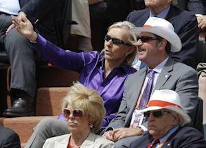 Former tennis player Martina Navratilova watches the women's singles final match between Errani of Italy and Sharapova of Russia during the French Open tennis tournament in Paris