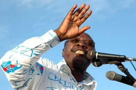 Tanzania's opposition CUF party's presidential candidate Lipumba addresses a campaign rally at Mabibo in Dar es Salaam