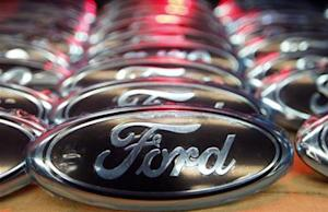 Ford logos are seen at the assembly line of the Ford car factory of Saarlouis