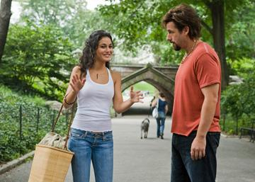 Emmanuelle Chriqui and Adam Sandler in Columbia Pictures' You Don't Mess With the Zohan