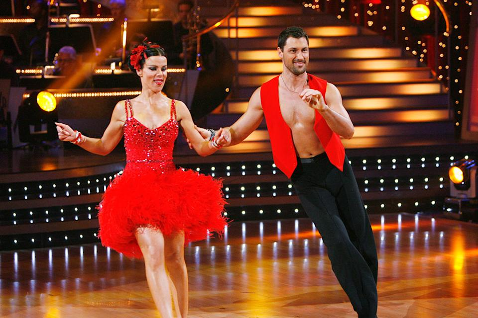 "Debi Mazar and Makism Chmerkovskiy perform the Salsa to ""Complicacion"" by Tito Puente on ""Dancing with the Stars."""
