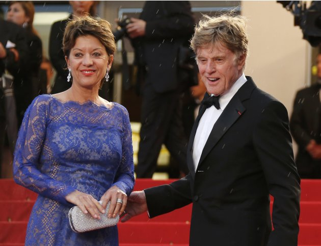 "Actor Robert Redford and his wife Sibylle arrive for the screening of the film ""All is Lost"" during the 66th Cannes Film Festival"