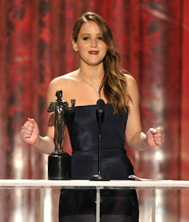 Jennifer Lawrence accepts her first SAG Award on Sunday
