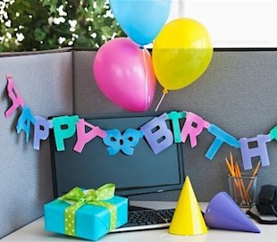 Happy birthday at work desk