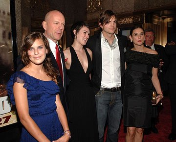Tallulah Willis, Bruce Willis , Rumer Willis , Ashton Kutcher and Demi Moore at the New York premiere of 20th Century Fox's Live Free or Die Hard