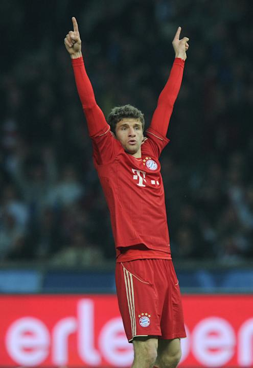 Munich's Striker Thomas Mueller Celebrating AFP/Getty Images