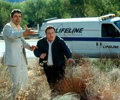 Rowan Atkinson and Wayne Knight in Paramount's Rat Race