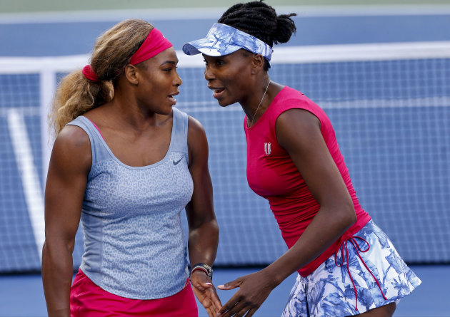 The Williams sisters will be back in action in doubles Friday. Venus also has singles against Sara Errani. (AP Photo/Matt Rourke)