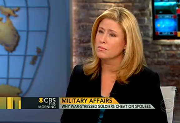 "This still frame made from video provided by CBS ""This Morning"" on Tuesday, Nov. 20, 2012, shows Rebecca Sinclair, wife of Brig. Gen. Jeffrey Sinclair, during an interview with the television show. As Brig. Gen. Jeffrey Sinclair faces a string of sexual misconduct charges involving female officers, Rebecca Sinclair is seeking to stir a broader look at often taboo subjects in military marriages: adultery, the strain of separation and the stress of war. (AP Photo/CBS ""This Morning"") MANDATORY CREDIT"