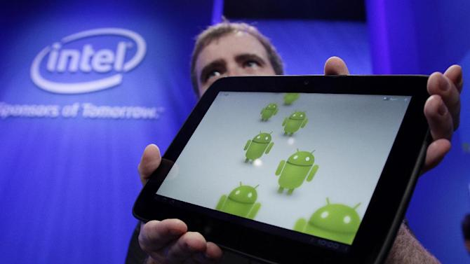 This Sept. 13, 2011 photo, shows a Google Android tablet running on a Medfield Intel chip, during the keynote address at the Intel Developer Forum, in San Francisco. Intel Corp., releases quarterly financial results Tuesday, Oct. 18, 2011, after the market close. (AP Photo/Paul Sakuma)
