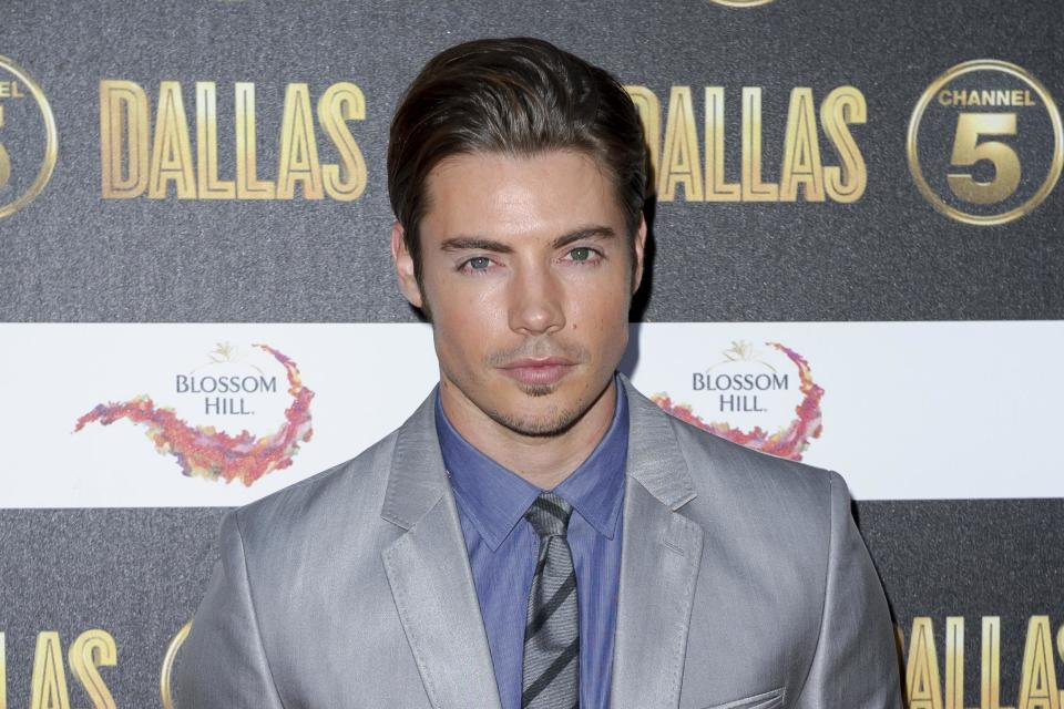 U.S actor Josh Henderson arrives for the Dallas launch party at a central London venue, Tuesday, Aug. 21, 2012. (AP Photo/Jonathan Short)