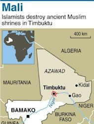 <p>Map of Mali locating destruction by Islamists of shrines in Timbuktu. Mali's national assembly called for army intervention in the north where Islamists have enforced strict sharia law, destroyed ancient shrines and trapped residents with landmines.</p>