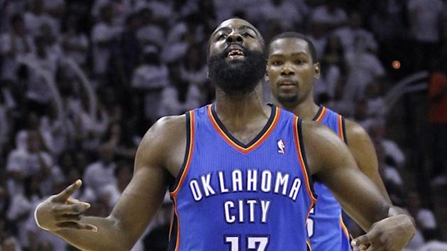 2011-12 NBA Oklahoma City Thunder guard James Harden (13) celebrates