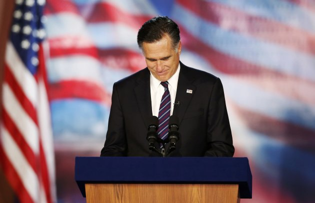 Republican presidential nominee Mitt Romney delivers his concession speech during his election night rally in Boston, Massachusetts, November 7, 2012.     REUTERS/Mike Segar (UNITED STATES - Tags: POLITICS ELECTIONS USA PRESIDENTIAL ELECTION TPX IMAGES OF THE DAY)