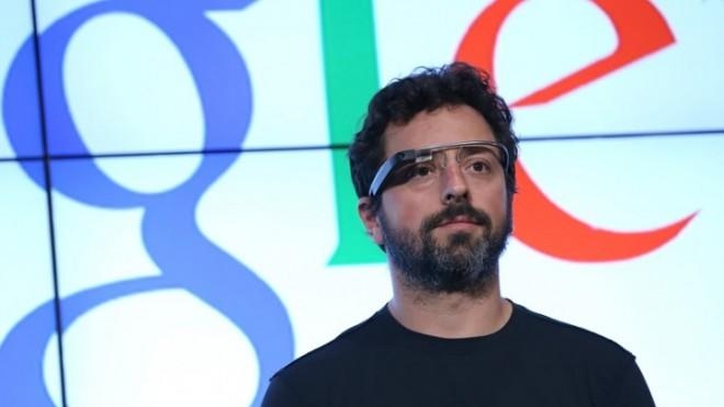 Google co-founder Sergey Brin sporting Google Glass.