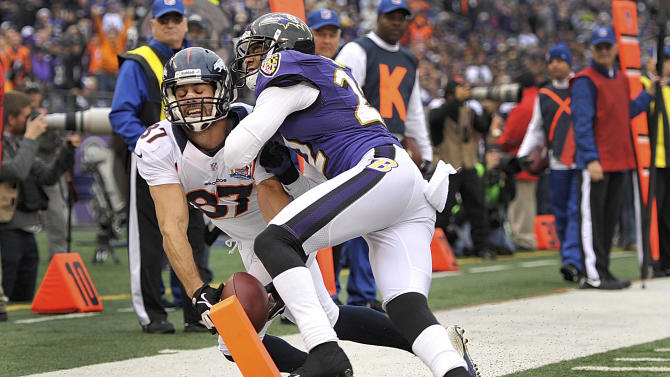 Denver Broncos wide receiver Eric Decker, left, is knocked out of bounds just short of a touchdown by Baltimore Ravens cornerback Jimmy Smith during the first half of an NFL football game in Baltimore, Sunday, Dec. 16, 2012. (AP Photo/Gail Burton)