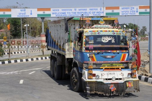 <p>Photo illustration shows Pakistani truck transporting a shipment of goods through India-Pakistan border crossing in Wagah. An Indian man freed after spending three decades in a Pakistani prison for spying walked across the border Thursday into India where he was met by family and hordes of reporters.</p>