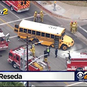 Special Needs Student, Adult Aid Injured In School Bus Vs. Vehicle Crash In Reseda