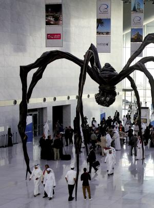 This Thursday, Sept. 20, 2012 photo shows the interior hall of the Qatar National Convention Center (QNCC) in Doha, Qatar. Green buildings would seem an oddity in this tiny Gulf nation which has plenty of oil and gas and, according to the International Energy Agency, the highest per capita emissions in the world, closely followed by Gulf neighbors Kuwait, Bahrain and the United Arab Emirates. But attitudes about energy use are changing across the Gulf. There is a growing recognition that the once seemingly limitless fossil fuels will someday run out and that these countries need to chart a more sustainable path. (AP Photo/Osama Faisal)