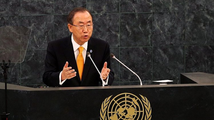 Ban Ki-moon speaks at the opening of the UN General Assembly in New York, on September 24, 2013