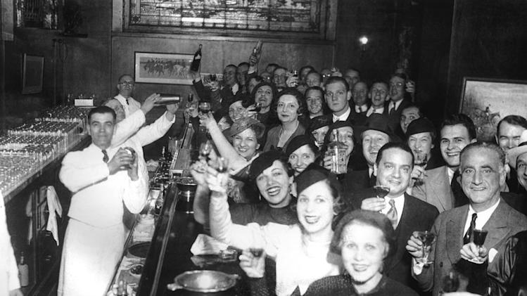 "Chicagoans celebrate the repeal of Prohibition at the Congress Hotel on December 8, 1933. One lasting effect of Prohibition: men and women seen drinking together, as seen on ""Prohibition."""