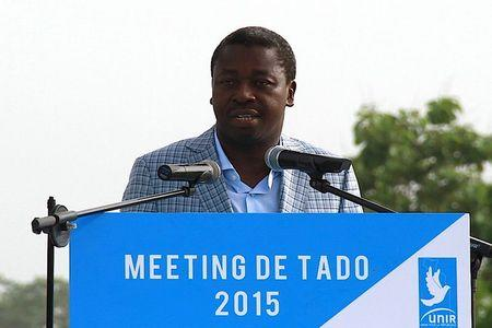 Incumbent presidential candidate Faure Gnassingbe speaks at a campaign rally in Tado