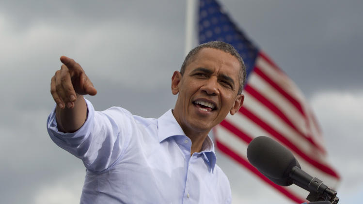President Barack Obama speaks during a campaign event, Saturday, Aug. 18, 2012, in Rochester, N.H., at Rochester Commons. (AP Photo/Carolyn Kaster)