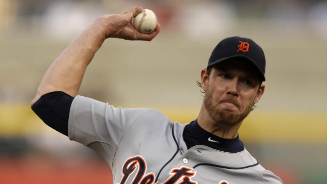 Detroit Tigers starting pitcher Doug Fister delivers during the first inning of a baseball game against the Pittsburgh Pirates in Pittsburgh, Thursday, May 30, 2013. (AP Photo/Gene J. Puskar)
