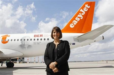 McCall CEO of easyJet poses for the media in Schoenefeld