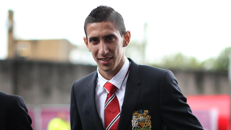 Manchester United's newly-signed Argentinian midfielder Angel di Maria arrives for the English Premier League match against Burnley at Turf Moor in Burnley, north-west England on August 30, 2014