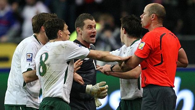 2009 World Cup play-off Ireland goalkeeper Shay Given argues with referee Martin Hansson