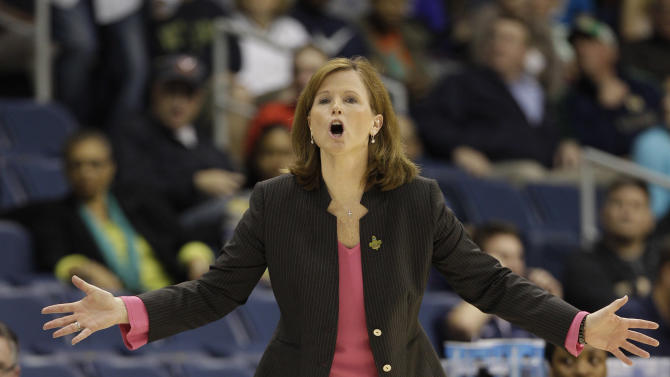 Kansas head coach Bonnie Henrickson directs her team during the first half of a regional semi-final of the NCAA college basketball tournament Sunday, March 31, 2013, in Norfolk, Va.  (AP Photo/Steve Helber)