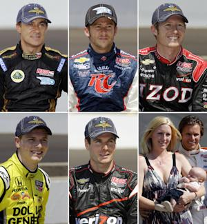 This combination made Wednesday, May 23, 2012, from file photos shows, top row from left, IndyCar's Indianapolis 500 drivers Jean Alesi on May 20, Marco Andretti on May 19, and Ryan Briscoe on May 19, and bottom row from left, Josef Newgarden on May 19, Will Power on May 19, and Susie and Dan Wheldon on May 30, 2011. The Associated Press takes a look at some questions and offers a few predictions for the Indianapolis 500 scheduled for Sunday, May 27, in what is supposed to be the most wide-open auto race in some time fueled by a lack of clear favorites and a good group of new faces vying for attention. This year's race also takes a somber turn in honoring the late Dan Wheldon, who was killed in a fatal accident in the October finale. (AP Photos/Files)