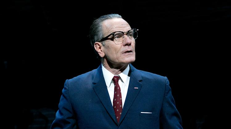 "FILE - This file image released by Jeffrey Richards Associates shows Bryan Cranston portraying President Lyndon B. Johnson during a performance of ""All the Way."" HBO Films has acquired rights to the Tony Award-winning play, which opened earlier this year to critical and popular success while also winning Cranston the Tony as Best Actor. Robert Schenkkan will adapt his play for HBO, the company announced Wednesday, July 16, 2014. (AP Photo/Jeffrey Richards Associates, Evgenia Eliseeva, file)"