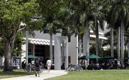 Students walk on campus of University of Miami in Coral Gables