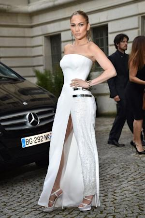 Jennifer Lopez arrives at the Versace show as part of Paris Fashion Week - Haute Couture Fall/Winter 2014-2015 on July 6, 2014 in Paris -- Getty Images