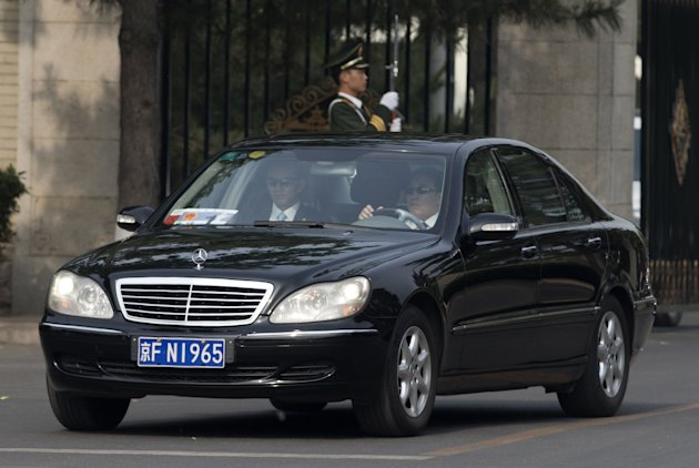 A car believed to be carrying North Korean envoy Choe Ryong Hae, leaves Beijing's Diaoyutai State Guesthouse Friday, May 24, 2013. Choe is on a fence-mending visit in China as a special envoy for Nort