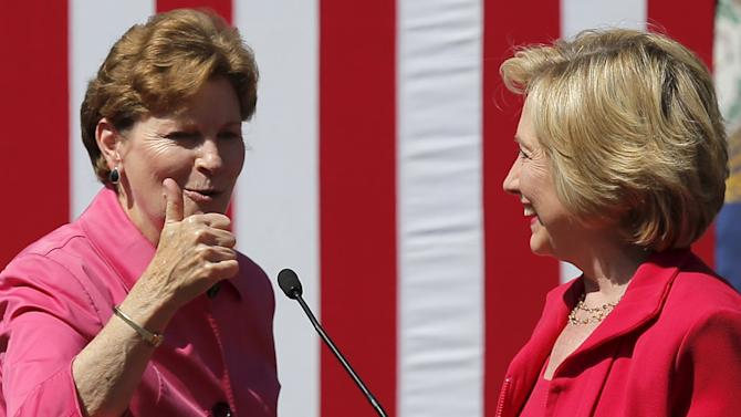 U.S. Senator Jeanne Shaheen gives a thumbs up after endorsing U.S. Democratic presidential candidate Hillary Clinton at a campaign rally in Portsmouth