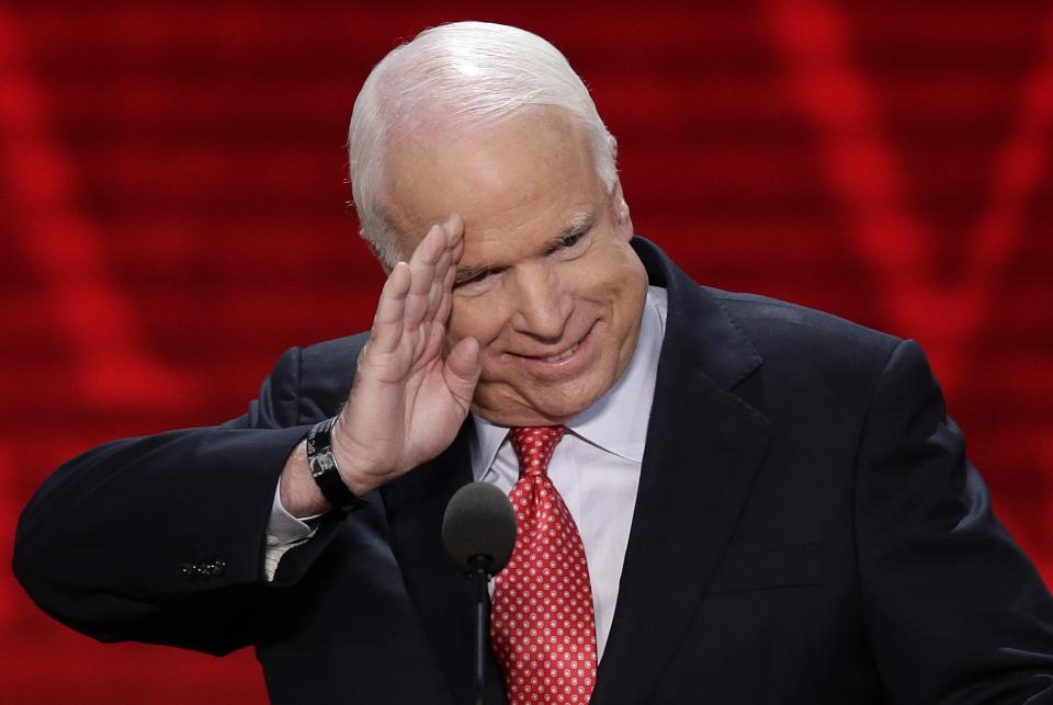 Sen. John McCain, R-Ariz., salutes before addressing the Republican National Convention in Tampa, Fla., on Wednesday, Aug. 29, 2012. (AP Photo/J. Scott Applewhite)